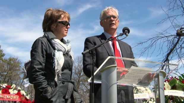 Christian Bruneau (right) stands beside his wife Nicole. Their son Olivier died when a chunk of ice fell on him while he worked in a construction pit on Preston Street on March 23, 2016.