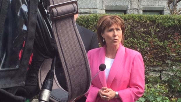 Premier Christy Clark speaks to reporters about the leader's allowance on April 28, 2015.