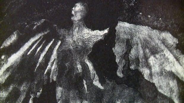 A closeup view of Dark Angel, the Jack Nichols lithograph print found inside a Toronto church this week.