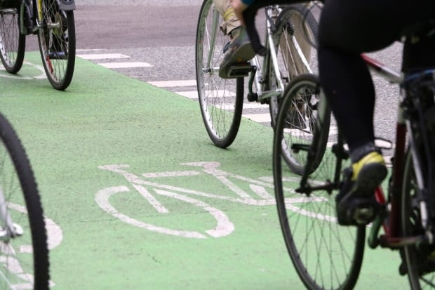 Cyclists in Vancouver bike lane