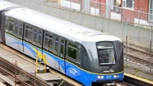 Overhead Shot of SkyTrain on rails in Vancouver