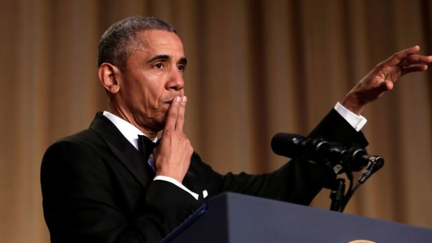 President Barack Obama seconds after dropping his mic at the end of his White House Correspondents' dinner address on April 30, 2016.