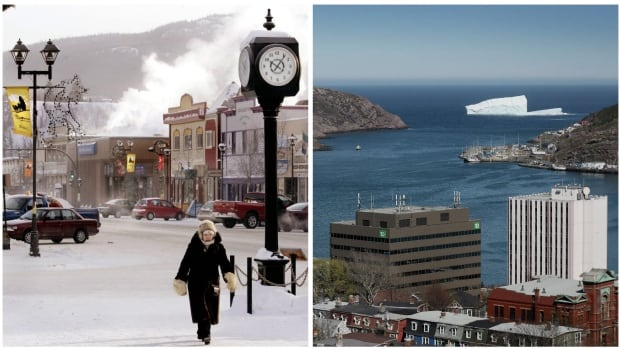 Considering government debt on a per capita basis, residents of Whitehorse, left, are the least indebted of the 25 citizens surveyed by CBC News, with a figure of $23,165 per person for all three levels of government. St. John's residents have a total per capita debt level of $47,417 for all three governments.