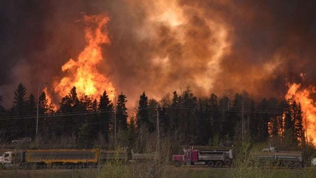 In this photograph from May 3, the flames build along Highway 63, where thousands of Fort McMurray residents fled for their lives during the city-wide evacuation.