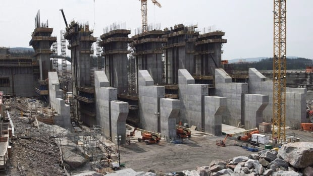 The construction site of the hydroelectric facility at Muskrat Falls is seen on July 14, 2015.