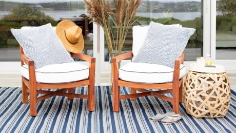 Dash and Albert indoor-outdoor rugs can be brought inside in the off-season, says Nancy Lopes