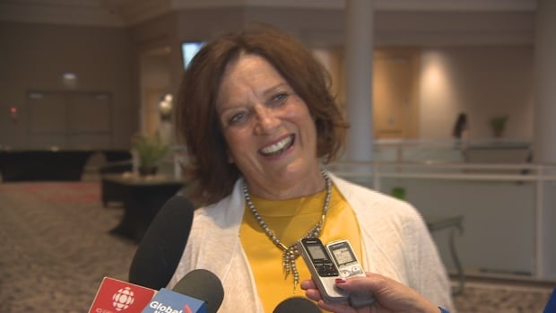 Margaret Trudeau, in a relaxed moment speaking to reporters in Regina Thursday.