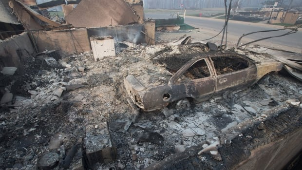Home foundations and shells of vehicles are nearly all that remain in a residential neighborhood destroyed by a wildfire on May 6, 2016 in Fort McMurray, Alta.