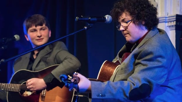 "Nick Earle and Joe Coffin perform at their release party for ""Live at Citadel House"" at the Masonic Temple in St. John's on April 22, 2016."