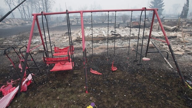 The remains of partially-melted swing set sit in a residential neighbourhood levelled by wildfire in Fort McMurray.