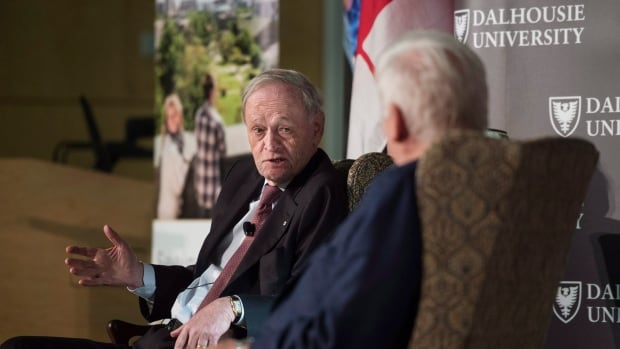 Former Prime Minister Jean Chretien, left, speaks with former MP Bob Rae during the launch of the MacEachen Institute for Public Policy and Governance at Dalhousie University in Halifax Monday. Chretien said it is time the government decriminalized pot possession.