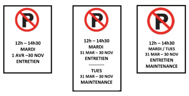 parking signs options westmount