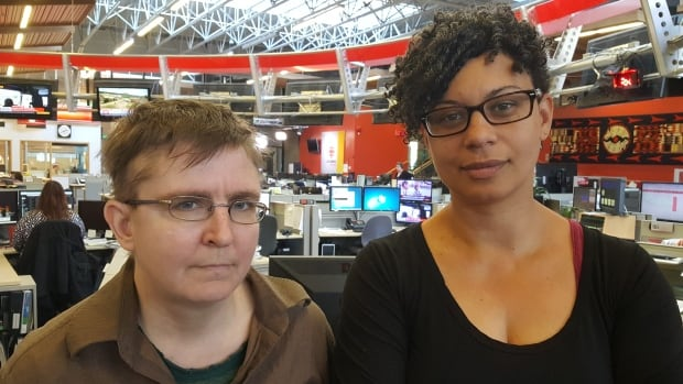 Karen Ward (left) and Cecily Nicholson are are upset with VCH for pulling funding for Gallery Gachet, and suggested the health authority doesn't realize the gallery's importance to the DTES.