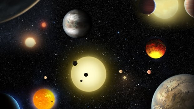 This artist's concept depicts select planetary discoveries made to date by NASA's Kepler space telescope - 1,284 newly discovered planets were announced this week.