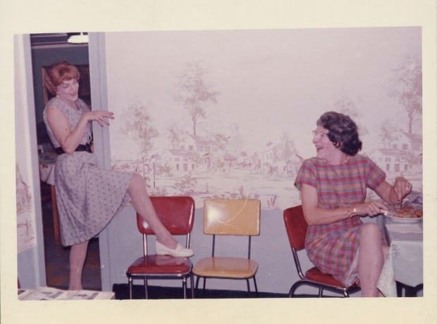 Susanna and a friend in the kitchen, 1955- 1963