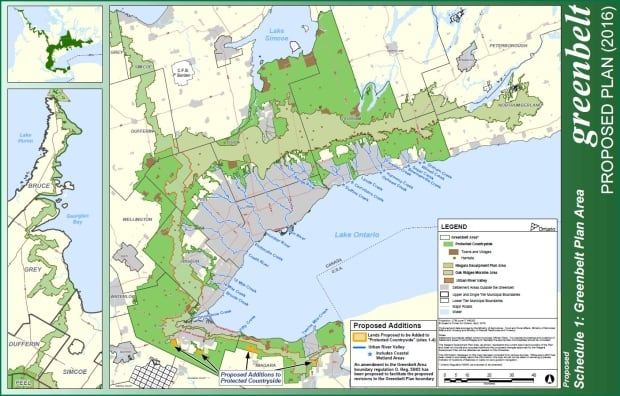Map of proposed Greenbelt Ontario Greater Golden Horseshoe area 2016