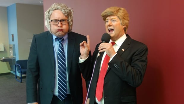 Bernie Sanders impersonator James Adomian blows steam as Donald Trump impersonator Anthony Atamanuik monopolizes the mic.