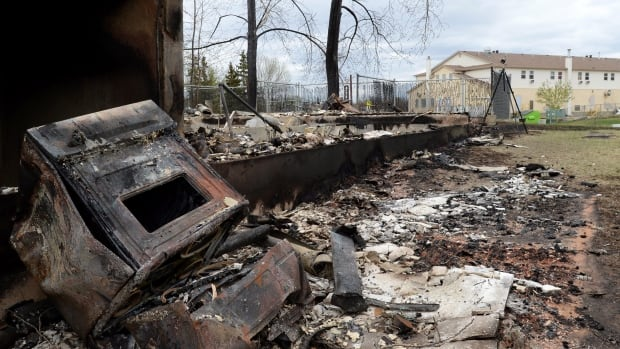 A charred oven is shown in the Abasand neighbourhood during a media tour of the fire-damaged city of Fort McMurray, Alta., on May 9.
