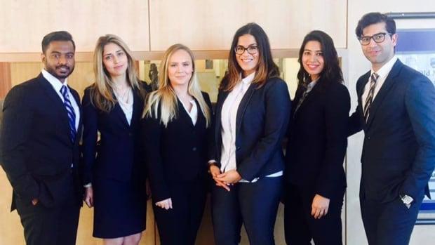 The team of TRU law students behind the Summons app: (left to right) Servesh Jeet, Nikta Shirazian, Megan Sahlstrom, Nawel Benrabah, Harman Bains, Houtan Sanandaji