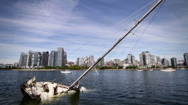 A submerged boat in Vancouver's False Creek could wind up costing the city thousands of dollars to clean up.
