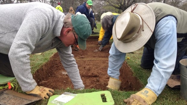Archeologists are busy in Nova Scotia often examining sites for future developments for signs of archeological artifacts.  In this file photo, Saint Mary's University continuing education students learn the basics of archeology while searching for the remains of a British fort in Lunenburg.