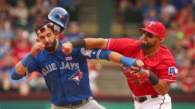 Rougned Odor laid a pretty serious right hook on Toronto's Jose Bautista.