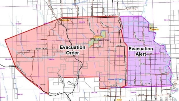 The Peace River Regional District issued a evacuation order for homes near the Beatton Airport Road wildfire on Sunday, May 15, 2016.