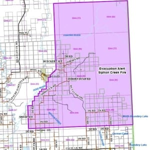 Siphon Creek wildfire evacuation alert revised map