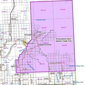 Siphon Creek wildfire evacuation alert revised map