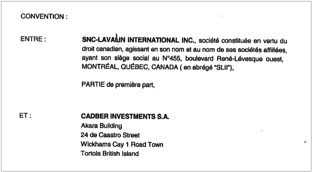 SNC-Lavalin International Inc. contract with Cadber Investments SA