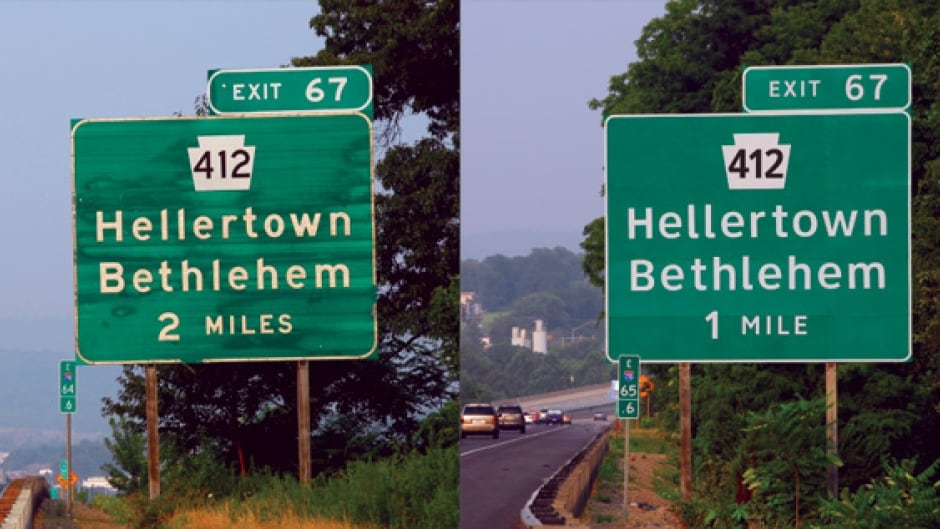 A comparison of the old US highway typeface (Highway Gothic) with the newer (Clearview), designed to be more readable.