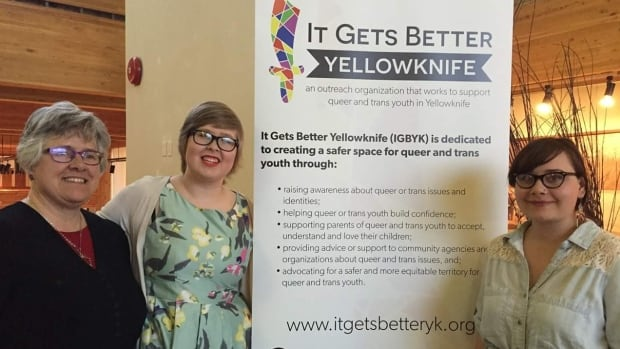 Jacq Brasseur (middle), co-chair of It Gets Better Yellowknife, said forcing people to prove they've had gender reassignment surgery before allowing them to change their gender on official documents is archaic.