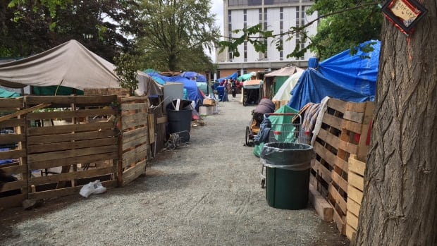 Campers and advocates at the homeless camp in Victoria have been working to define pathways and clear out flammable materials ahead of a fire inspection.