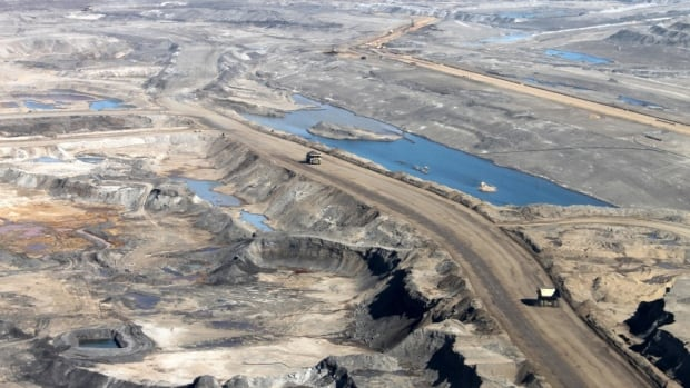An aerial image shows a portion of an open-pit oilsands mine near Fort McMurray