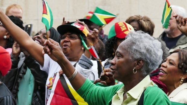 Dozens from Winnipeg's Guyanese community gathered at City Hall Thursday at a flag raising ceremony. May 26 marks 50 years since the South American country gained independence.