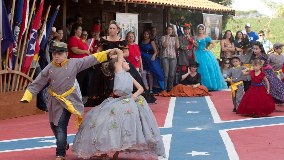 "Descendants of American Southerners dance at 'Festa Confederada"" in Santa Barbara d'Oeste, Brazil."