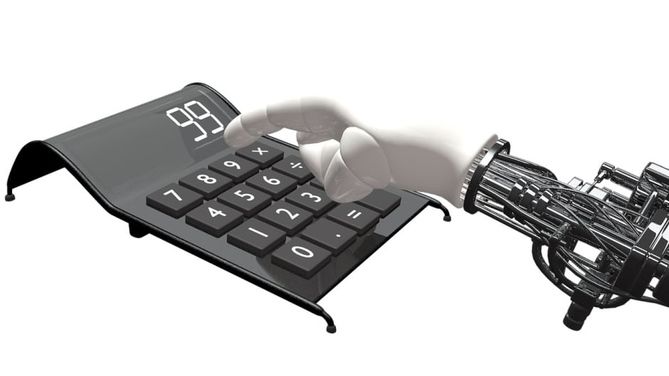 An artistic rendering of a robotic arm using a calculator.