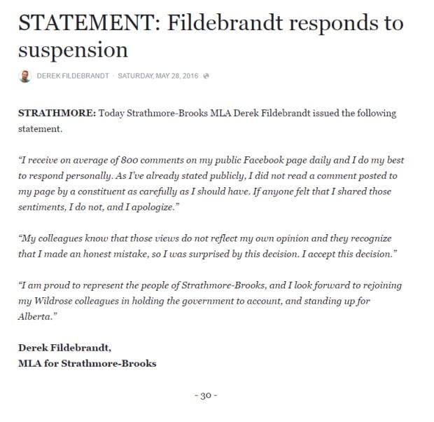 Fildebrandt statement