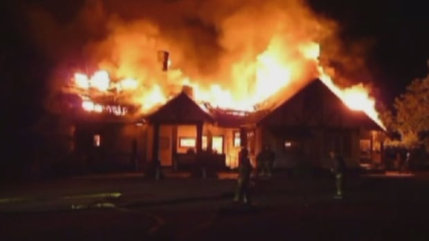 Fire destroyed most the Quamichan Inn in the Cowichan Valley on Vancouver Island on Friday, May 27, 2016.