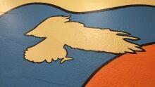 Reggie Bushie mural, hawk