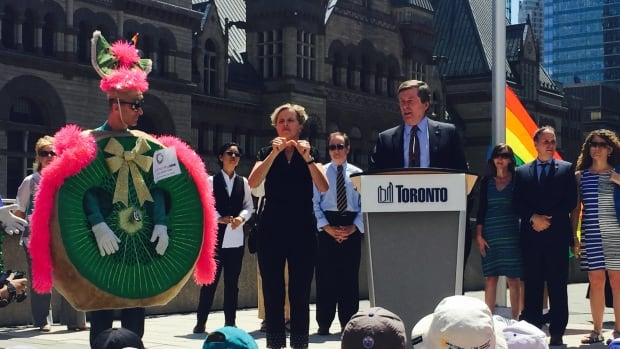 Toronto Mayor John Tory launches the city's first ever Pride Month at city hall.