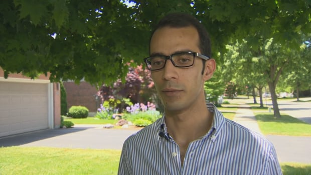 Mohammed Sharifi was attacked by two men Saturday, while sitting outside Covenant Garden Market in downtown London, Ont.