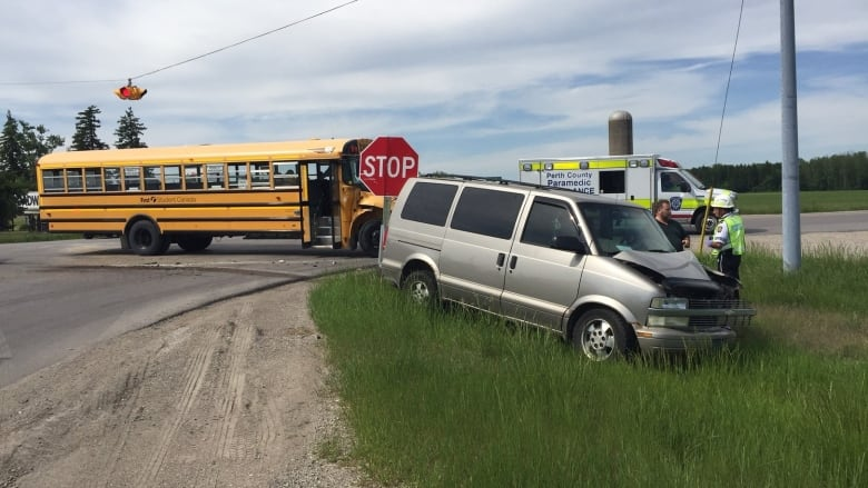 School bus collides with van outside Stratford | CBC News