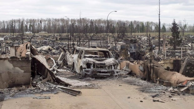 Damage from the wildfires is seen in the Beacon Hill neighbourhood in Fort McMurray.