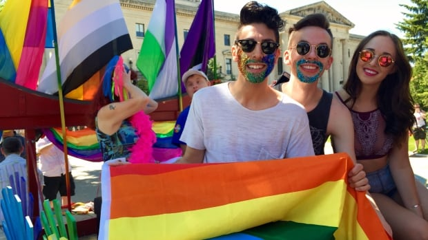 """The 2016, """"Be Authentic"""" themed Winnipeg Pride Parade saw thousands of people  march through the streets of downtown. The festival says they will stick with their original May/June dates for 2018's celebration."""