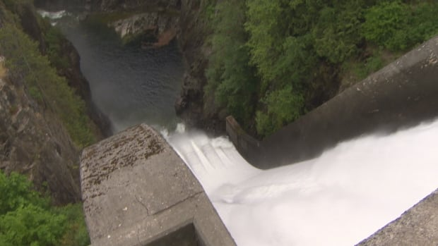 Water flows at the Capilano Reservoir. Officials and academics say the 270 litres on average each person uses needs to drop.