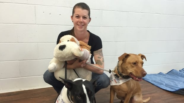 Simone Krebser is the owner of K9 Possible Dog Training and Walks 'N' Wags Pet First Aid instructor. She's with her two dogs and a stuffed dog that is used for training.