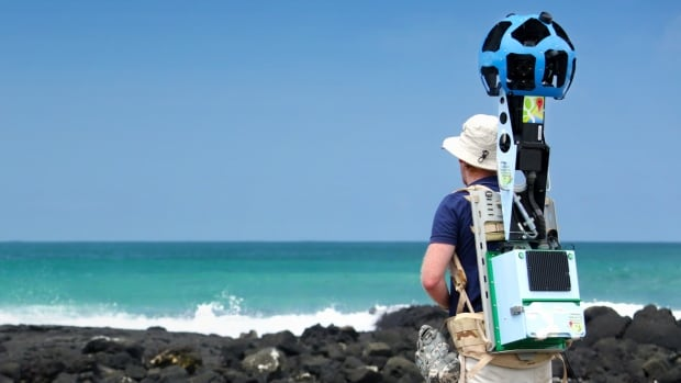The Google Trekker is an 18-kilogram backpack equipped with about 15 cameras that capture 360-degree views.