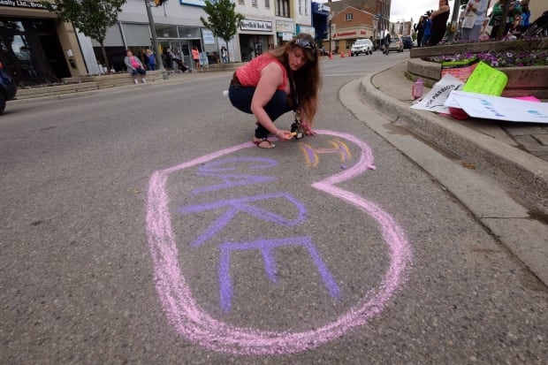 Woodstock Ont student walkout June 7 2016 Angela Haggarty chalk