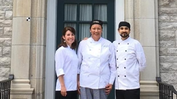Erica Gilpin (middle) with the prime minister's chef, Neil Dhawan (right), and his assistant. Gilpin baked gluten-free granola bars for the Trudeau family in Ottawa this week.